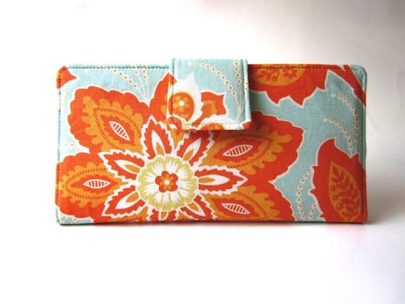 Handmade women wallet large orange flower light aqua floral Ready to ship