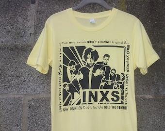 80s tshirt handmade INXS t-shirt tee michael hutchence stencil and spray paint art by Rainbow Alternative