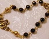 Green/Gold Irish Claddagh Bracelet