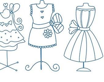 Bluework Dress Embroidery Design - Set of 10 designs for 4 x 4 hoop - PES Format