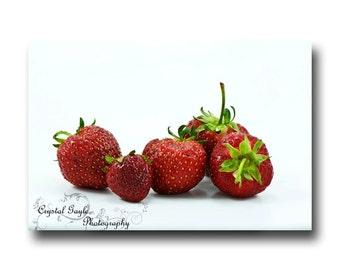 Strawberry Red Wall Art, Peridot Green Fine Art Photography, Kitchen Decor, Fresh Fruit Print, Foodie Chef Gift