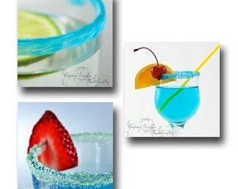 Cocktail Set Prints ~ Photography Print ~ Martini. Daiquiri, Umbrella Drink, Kitchen Wall Art, Lounge Decor, Bar, Hostess Gift, Man Cave