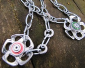 Chain link Recycled Ring Pull Pendant style Flower Necklace, silver with red or green
