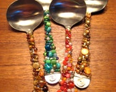 Beaded Silverware - Sauce Ladle - Salad Dressing Ladle - Brown and Gold Beads - Hostess Gift - Holiday Gift - Thanksgiving Gift Idea