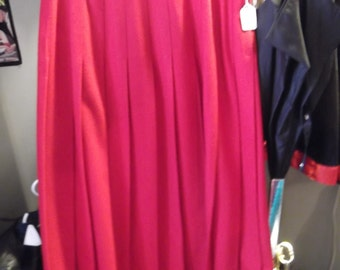 "1960s ""Briggs"" Red Wool Pleated Skirt,  M"