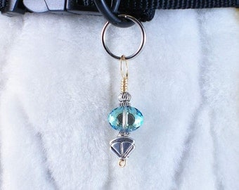 Icy Blue - dog collar charm pet jewelry handmade wire wrapped zipper or purse accessory