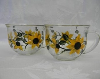 SALE-Large coffee mugs, soup bowls, cereal bowls, hand painted bowls with sunflowers, sunflowers, kitchen bowls