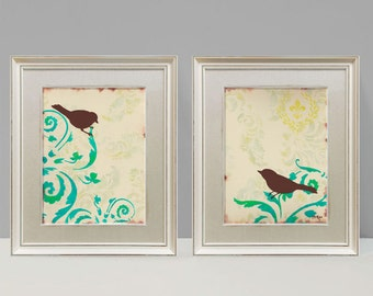 Love Bird Prints, Cottage Chic Shabby, Damask wall decor, Large Prints, Set of Two, 9 x 12 inches