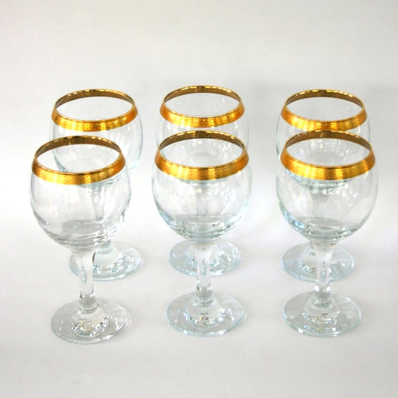 Vintage Wine Glasses Gold Rimmed Rim Crystal Glasses