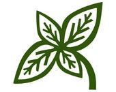 Basil digital stamp clip art in green and black