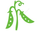Green peas digital stamp clip art - instant download - also in black