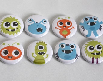 Monsters 1 inch Magnets or Pins - Set of 8 - Designs By Kelly Medina Studios