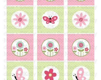 Butterfly and Flowers Garden Birthday - 2 inch Circle Digital Sheet - Personal use for Cupcake Toppers, Magnets, Paper Crafts