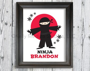 Personalized Ninja Wall Art Print - Red White Black Ninja Karate Martial Arts - Custom Personalized Printed Kid's Wall Art by Kelly Medina