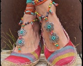 GYPSY summer BAREFOOT SANDALS soleless sandals beach wedding rainbow dance jewelry Anklet foot jewelry bohemian shoes Orange toe thong