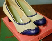 RESERVED - Size 6.5 - White Mesh Blue Saddle Pumps