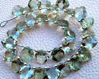 5 Matched Pair Gorgeous, Super Quality GREEN AMETHYST Cut 10x10mm CUSHION Shape Briolettes,Great Price