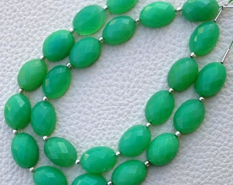 Brand New, Full 8 Inch Long Strand, CHRYSOPRASE Chalcedony Faceted OVAL Cab.Shape Briolettes, 14x10mm size,Superb Quality