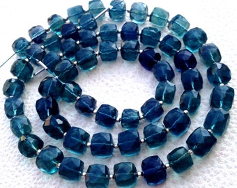 TRULY Rare Brand New,Amazing 3D Box, 1/2 Strand, Blue Paraiba FLUORITE Faceted 3d Box Briolettes ,7-8mm size,Superb Item