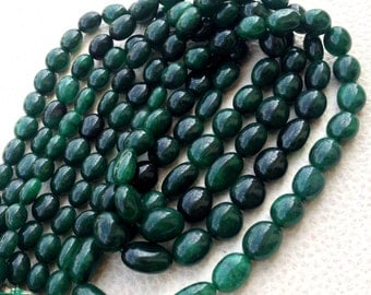 Brand New Arrival,Full 9 Inch Strand, Dyed Natural EMERALD Smooth Ovals Shape Briolettes,8-10mm Long, Finest Item