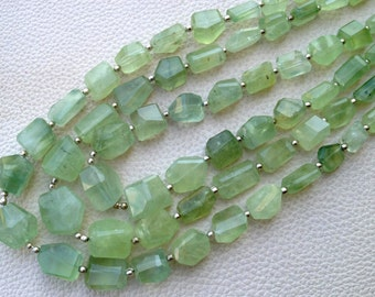 Brand New Full 8 Inch Long Strand, PREHNITE Faceted Nuggets Briolettes,8-17mm Long size,Gorgeous