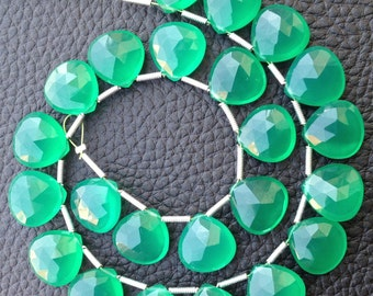 Brand New, 5 Matched Pairs,12x12mm GREEN ONYX Chalcedony Faceted Heart Briolettes,Amazing Item at Low Price