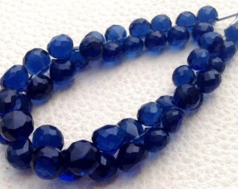 Full 8 Inch Long Strand, KYANITE BLUE Quartz Micro Faceted Onions Shape Briolettes, 7-8mm size,Superb Item at Low Price