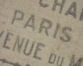 PARIS Burlap Grain Sack Flour bag French AUTHENTIC VINTAGE hessian jute