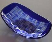 Blue Basketweave Dish