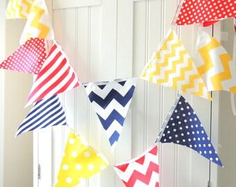 Party Banner, Bunting Pennant Fabric Flags, Navy Blue, Red, Yellow, Chevron, Polka Dot, Stripes, Baby Boy Nursery Decor, Shower, Birthday