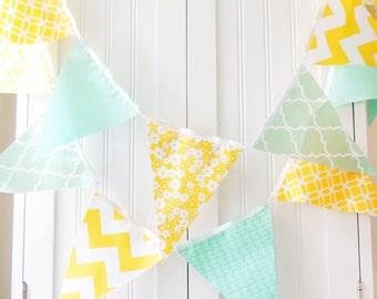 Wedding Banner, Bunting, Fabric Pennant Flag Garland, Wedding, Birthday Party, Baby Nursery, Yellow, Mint Green, Chevron, Quatrefoil, Floral