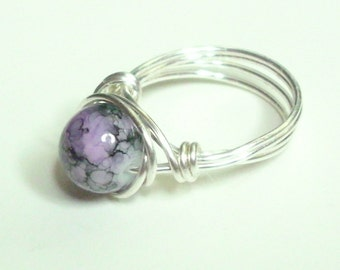 Purple Black and Silver Plate Wire Wrapped Ring Sizes1-14