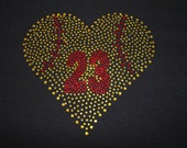 Softball BLING Heart and Number Tee or Tank--Reserved