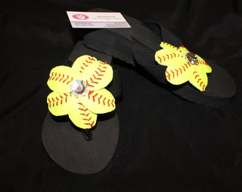 Bling Softball Flip Flops, Made with real softballs, Softball Flip Flops, Softball Mom, Softball, Baseball flip Flops, Baseball Mom,