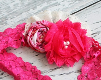 Simply Sweet  -- rosette and chiffon flower headband with lace