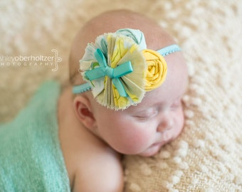 Prim & Proper- aqua, yellow and ivory ruffle and rosette headband