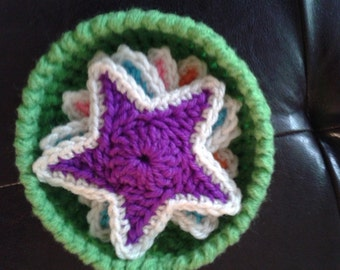Crochet Star Coasters - Set of 4 with Crocheted Bowl