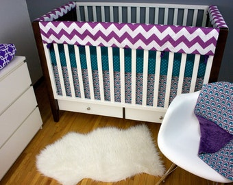 Peacock Crib bedding Purple nursery baby Bedding Crib set, Upgraded Rail Guard/ Fitted Sheet/ Skirt/ Minky Blanket, Modern Baby Bedding