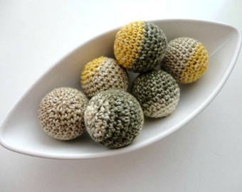 Big Mustard Green Ivory Vase Filler Balls 6 Pcs (Without Holes)