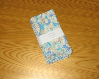 Blue Floral Feedsack Cloth Napkins Set of 4