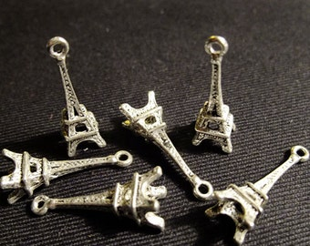 Destash (6) Small Paris France Eiffel Tower Charms - for pendants, jewelry making, crafts, scrapbooking