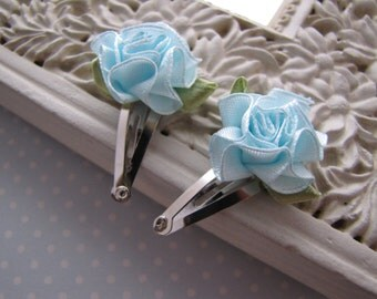 Cabbage Rose . baby snap clips . blue satin . toddler hair accessory