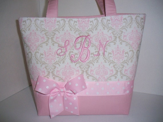 PInk Grey Taupe Damask Fabric Diaper Bag / Tote / Purse