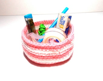 Bowl or Basket Pink and White