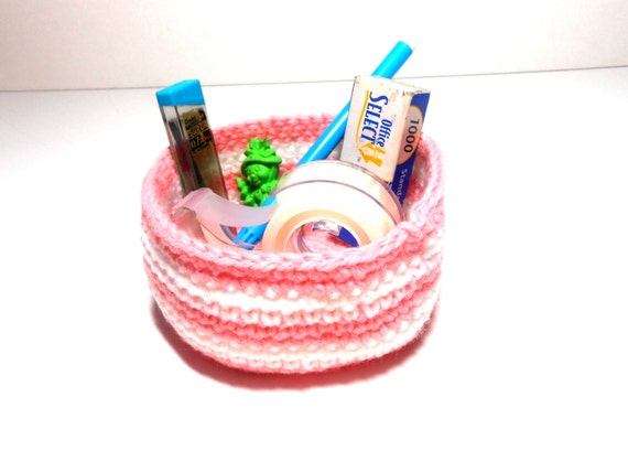 Bowl, Basket, Pink and White Bowl, Crocheted Bowl, Clutter Keeper
