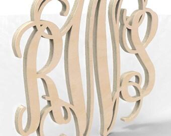 """3 Letter Monogram Door or Wall Hanger 10"""" tall Custom Made."""