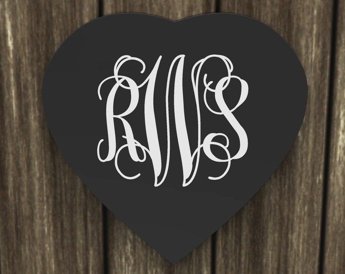 Heart Shape Vine Monogram Sign, Wall Hanging, Custom Crafted Wood Sign wedding gift.