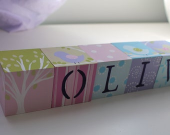 Personalized Baby Name Blocks- HAYLEY Theme