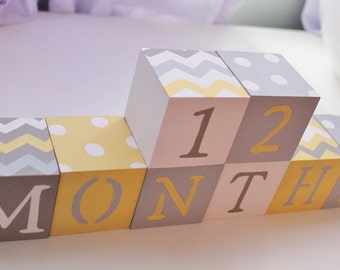 Baby Blocks- Photo Prop for Monthly Baby Pictures- Set of 16 Blocks- YELLOW, GRAY