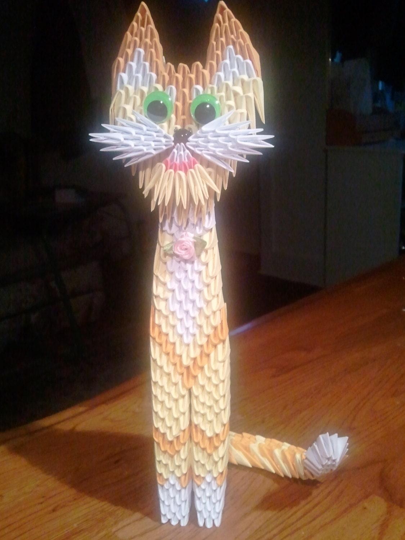 3D origami yellow cat by 3DOrigamiArtStudio on Etsy - photo#18